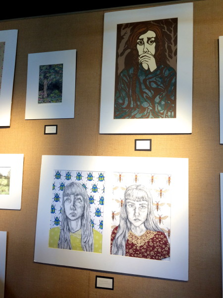 "Art by Brooks Vessels. Top left: ""Gomnia Salva"" Top right: ""Stifled"" Bottom: ""Lace and Leaf Beetles"""