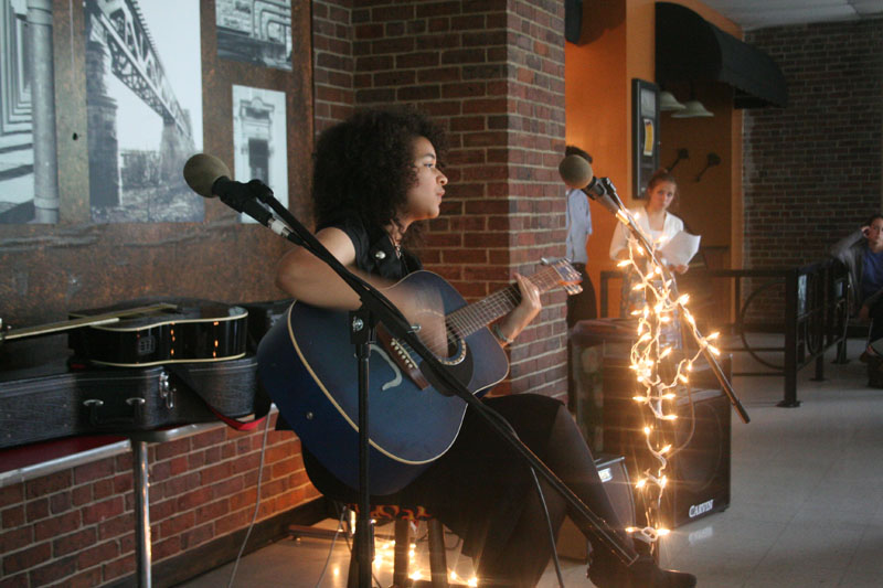 Marissa Booker (10), sings Pressure by Paramore at Open Mic Night. Photo by Miracle Stewart