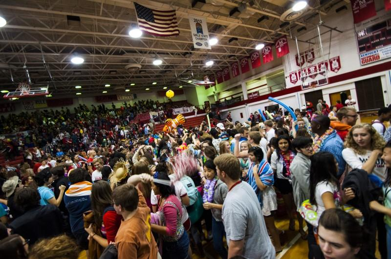 After receiving the spirit stick, the seniors immediately stormed the floor. Photo by Jack Steele Mattingly