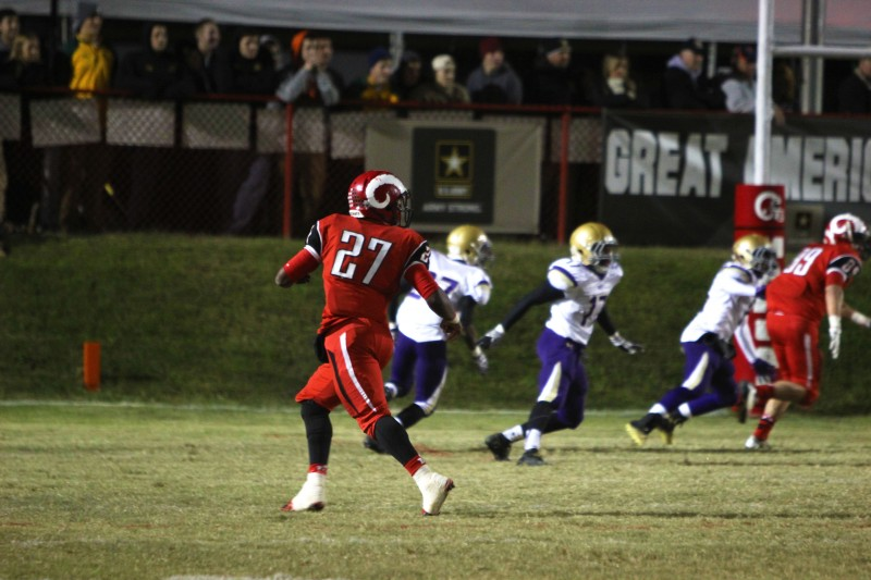 Mike Nero (11, #27) runs out to catch a pass