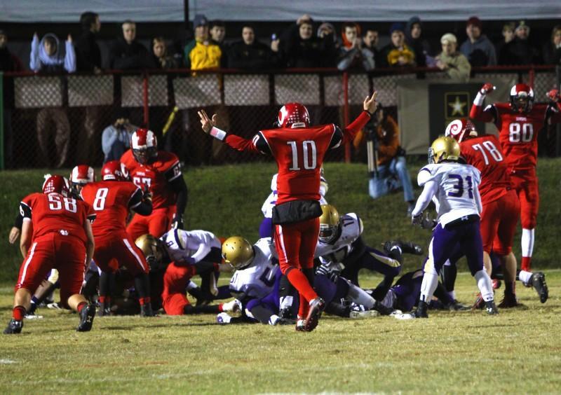 Mason Motley (12) celebrates after a touchdown.