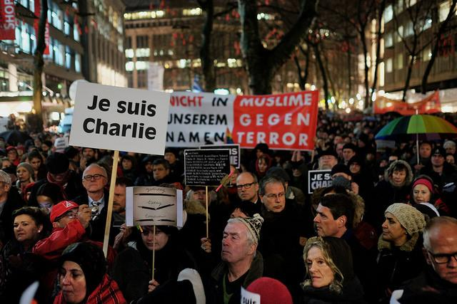 Protests in support of Charlie Hebdo in Germany. Photo by Flicker user konradlembcke.
