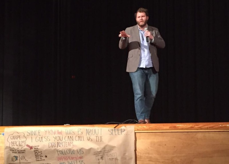 Michael Perry, a 2012 Manual graduate, started the Idea Festival at Manual. The event expanded and grew to include all of JCPS. Photo by Margo Morton