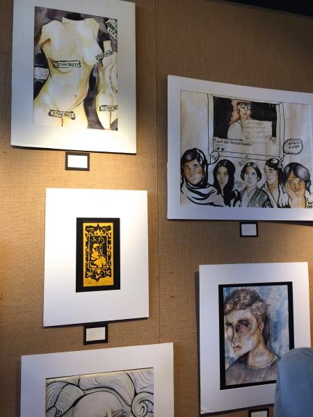 "Art by Jamie Esterly. Top left: ""CENSORED"" Bottom left: ""Mockery"" Top right: ""Bruised"""