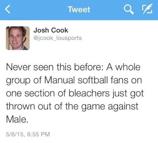 Local sports writer Josh Cook tweeted about the umpire kicking Manual fans out of the rivalry game on Wednesday, May 6.