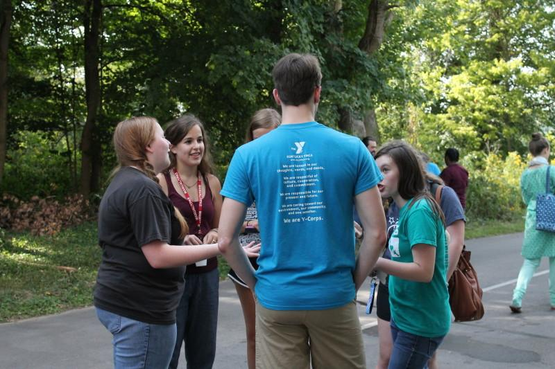 Emilee McCubbins (12, HSU) talks to other Y-Club members. Manual's Y-Club was very involved in the clean up. Photo by Kaylee Arnett.