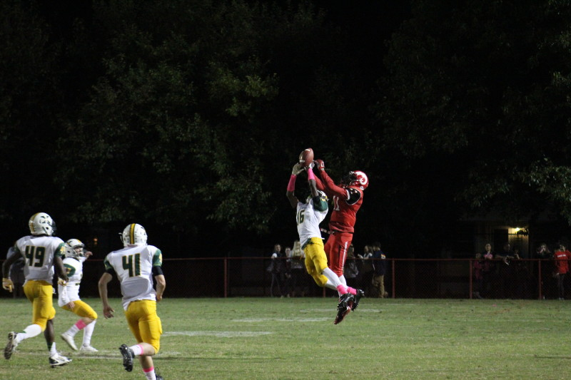 The pass is complete to Jaelin Carter (11, #11) but does not count due to a flag on the play. Photo by Kate Hatter