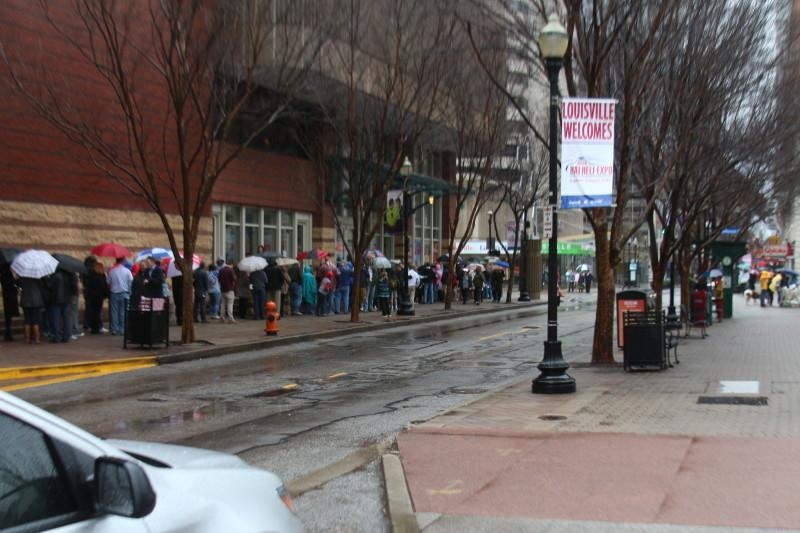 Lines for the rally wrapped around the building and grew longer as the afternoon progressed. Photo by Josh Jean-Marie.