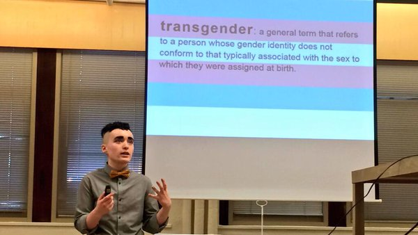 Oberon Coverdale of the duPont GSTA speaks to the faculty about trans issues and concepts.