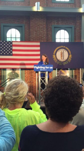 Alison Lundergan Grimes speaks to the crowd. Photo courtesy of Isaac Weiss (12, MST)