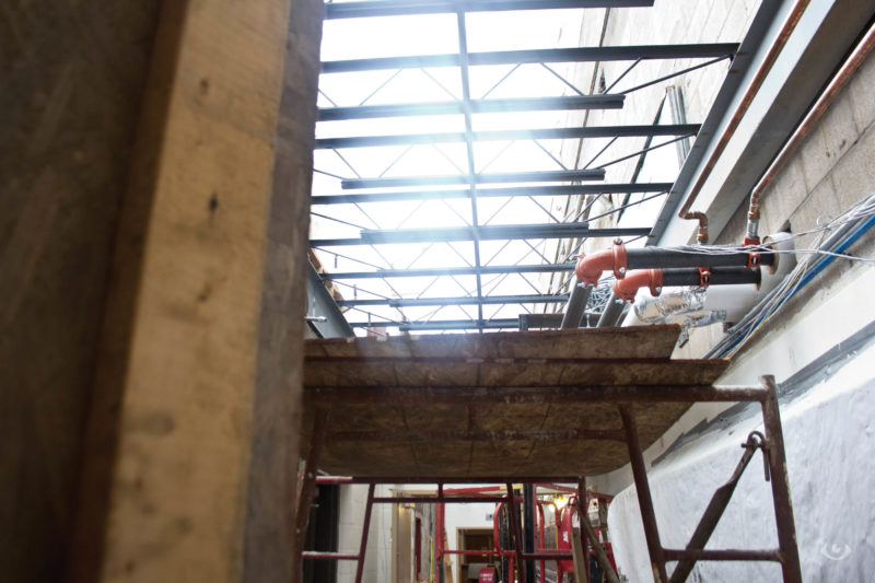Construction hole in the ceiling above the back hallway towards the canteen Wednesday Aug. 17, 2016