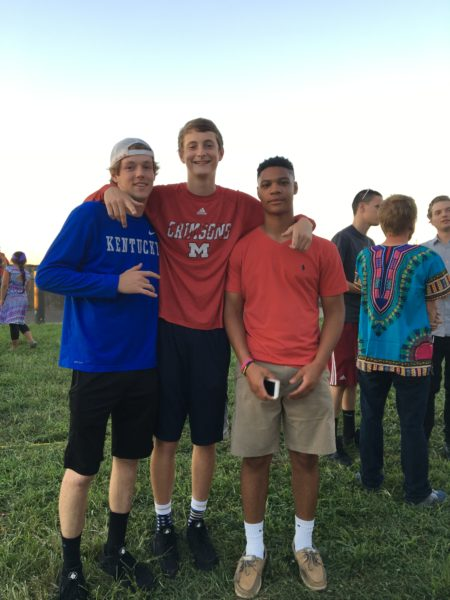 Jack Cameron, Brock Cassin and Brent Williams all hang out together at world fest.