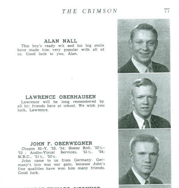 Lawrence (Bud) Oberhausen's 1954 senior yearbook picture.
